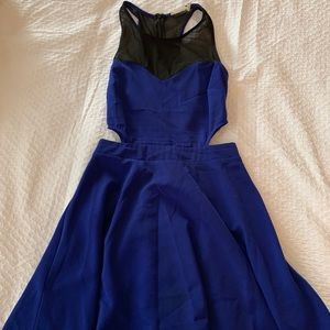 Blue sexy dress with low cuts